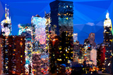 Low Poly New York Art - Night on the Skyscrapers of Manhattan Prints by Philippe Hugonnard
