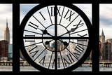Giant Clock Window - View on the New York with Empire State Building Photographic Print by Philippe Hugonnard