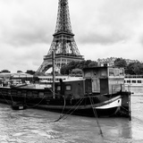 Paris sur Seine Collection - Barges along River Seine with Eiffel Tower VIII Photographic Print by Philippe Hugonnard