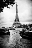 Paris sur Seine Collection - Barges along River Seine with Eiffel Tower XIII Photographic Print by Philippe Hugonnard