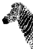 Low Poly Safari Art - Zebra Profile - White edition Print by Philippe Hugonnard