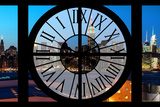 Giant Clock Window - View on the New York Skyline at Dusk II Photographic Print by Philippe Hugonnard