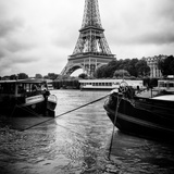 Paris sur Seine Collection - Barges along River Seine with Eiffel Tower XV Photographic Print by Philippe Hugonnard