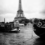 Paris sur Seine Collection - Barges along River Seine with Eiffel Tower IV Photographic Print by Philippe Hugonnard