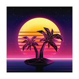Retro Futuristic Background 1980S Style. Digital Palm Tree on a Cyber Ocean in the Computer World. Posters by More Trendy Design here