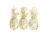Three Golden Pineapples Posters by Linda Woods
