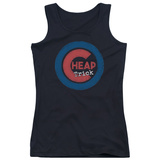Juniors Tank Top: Cheap Trick- Distressed Logo Button Womens Tank Tops