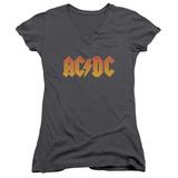 Juniors: AC/DC- Gold Block Logo V-Neck Womens V-Necks