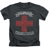 Juvenile: Bon Jovi- Distressed Bad Medicine Cross T-Shirt