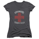 Juniors: Bon Jovi- Distressed Bad Medicine Cross V-Neck Womens V-Necks