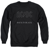Crewneck Sweatshirt: AC/DC- Back In Black Grey Block Logo T-shirts