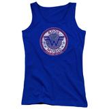 Juniors Tank Top: Weezer- Distressed Rock Music Button T-Shirt