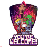 Guardians of the Galaxy Badge Art Featuring: Groot, Star-Lord, Rocket Raccoon, Drax Posters