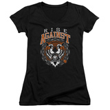Juniors: Rise Against- Tiger Bomb V-Neck T-Shirt