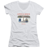 Juniors: Office Space- Life Is A Beach V-Neck T-shirts