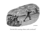 """Get him! He's wearing a blazer with a turtleneck!"" - New Yorker Cartoon Giclee Print by Joe Dator"