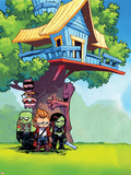 Guardians of the Galaxy Panel Featuring: Rocket Raccoon, Groot, Drax, Star-Lord, Gamora Stretched Canvas Print