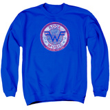 Crewneck Sweatshirt: Weezer- Distressed Rock Music Button T-Shirt