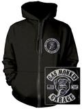 Zip Hoodie: Gas Monkey- Patch Logo (Front/Back) Hættetrøje med lynlås