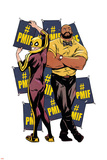 Marvel Knights Badge Art Featuring: Luke Cage, Iron Fist Print