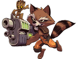 Guardians of the Galaxy Panel Featuring: Groot, Rocket Raccoon Stretched Canvas Print