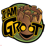 Guardians of the Galaxy Badge Art Featuring Groot Plakát