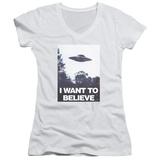 Juniors: X Files- Believe Poster V-Neck T-shirts