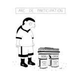 TITLE: ARC DE PARTICIPATION A soccer player looking down at a tiny version... - New Yorker Cartoon Regular Giclee Print by Seth Fleishman