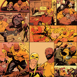 Marvel Knights Pattern Design Featuring: Luke Cage, Iron Fist Stretched Canvas Print