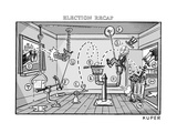 A comical and complex contraption flings various items around a room, incl... - New Yorker Cartoon Regular Giclee Print by Peter Kuper