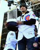 Javier Baez holds World Series Championship Trophy at victory parade 11/4/16, Grant Park in Chicago Photo