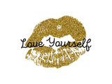 Poster with Gold Glitter Lips Prints on White Background. Posters by Olga Rom