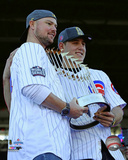 Jon Lester & Anthony Rizzo hold World Series Championship Trophy at victory parade 11/4/16, Chicago Photo