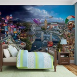 Disney Cars - Lightning & Mater Over London - Vlies Non-Woven Mural - Vlies Wallpaper Mural