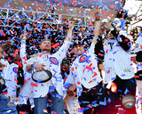 Jon Lester, Anthony Rizzo, Javier Baez w/World Series Championship Trophy at victory parade 11/4/16 Photo