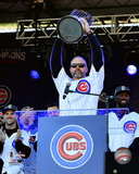 David Ross holds World Series Championship Trophy at victory parade 11/4/16, Grant Park in Chicago Photo