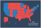 2016 US Presidential Electoral College Results (Blue) Prints