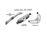 TITLE: Close But No Cigar Asparagus, wiener, and banana disguised as cigar - New Yorker Cartoon Premium Giclee Print by Tom Chitty
