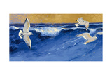 Seagulls with Gold Sky Crop Prints by Shirley Novak