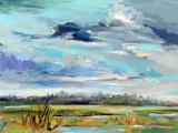 Marsh Skies Wood Print by Carol Hallock