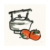 Tea and Persimmons Print by Chris Paschke