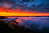 Glorious Epic Sunrise and Fog, Iconic Golden Gate Bridge, San Francisco Photographic Print by Vincent James