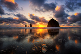 Moody Sunset at Cannon Beach, Oregon Coast Photographic Print by Vincent James