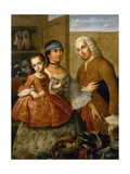 Couple with Little Girl (De Espanol y Mestiza, Castiza), Museo de America, Madrid, Spain Giclee Print by Miguel Cabrera
