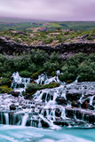Iceland Living, Country Hills and Waterfall Beauty Hraunfossar Photographic Print by Vincent James