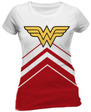 Juniors: Wonder Woman- Cheerleader Logo T-Shirt