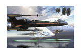 New X-Wing Model Cruising over a Lake to Attack the Empire Kunst von  Stocktrek Images