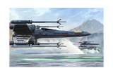 Early X-Wing Model Cruising over a Lake to Attack the Empire Art by  Stocktrek Images