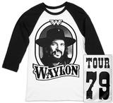 Raglan: Waylon Jennings- Tour 79 Black Logo Raglans