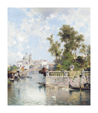 View of Rio Ognissanti with Church of Gesuati beyond Premium Giclee Print by Franz Richard Unterberger